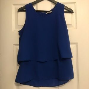 Blue flowy tank with peephole back - 2 for $20
